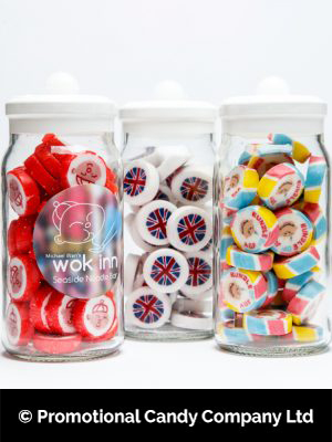 Personalised jars of rock sweets made by Promotional Candy Company in Blackpool, UK.