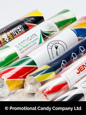 Various sticks of rock made by Promotional Candy Company in Blackpool.
