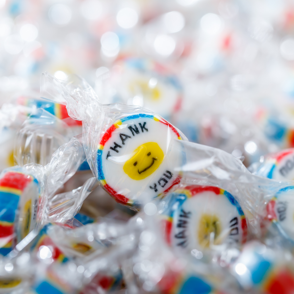 'Thank You' rock sweets on Ebay made in Blackpool by Promotional Candy Company.